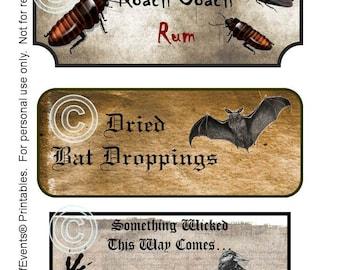 Spooky Halloween Labels / Halloween Printable Labels / Instant Download