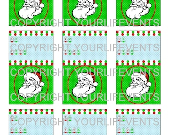 Vintage Style Holiday Christmas Gift Tags / Instant Download Red & Green Holiday Printable Gift Tags With Santa