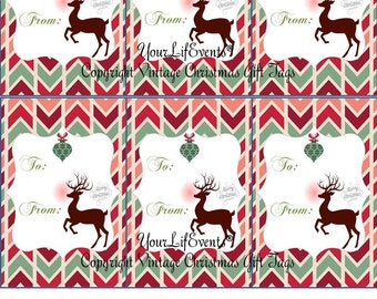 Vintage Style Holiday Christmas Gift Tags / Instant Download Holiday Printable Gift Tags
