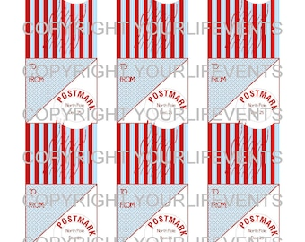 Vintage Style Holiday Christmas Gift Tags / Instant Download Red & Aqua Holiday Printable Gift Tags