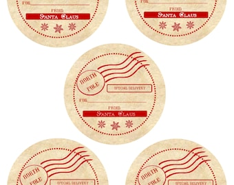 Vintage Christmas Tags / Instant Download / Santa Claus North Pole Vintage Looking Gift Tags