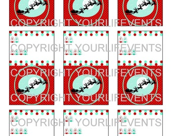 Vintage Style Holiday Christmas Gift Tags / Instant Download Red & Aqua Holiday Printable Gift Tags With Santa Sleigh