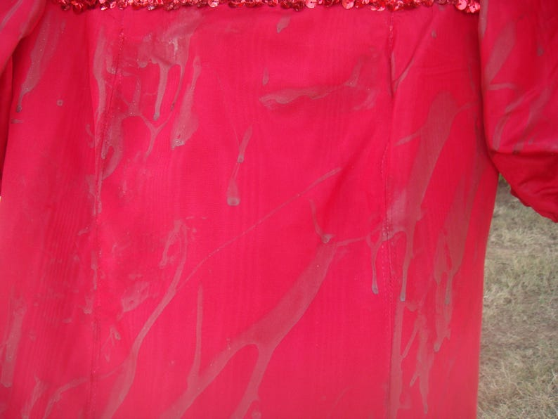Ghouls Green Blood Zombie  Costume Festival Halloween  Puffy Sleeve Hot Pink Satin Dress EX Small Large Child Bust 26 Big Bow Custom Sequins