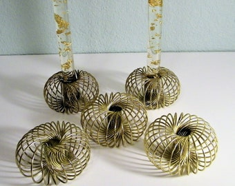 Set of 5 Mid Century Modern Brass Gold Spiral Candlestick Holders 50s 60s 70s Mad Men Vintage House Home Decoration Decor 1950s 1960s Slinky