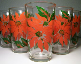 Vintage 50s 60s Mid Century Modern Atomic Poinsettia Christmas Drinking Cocktail Glass Libby 1950s 1960s Bar Barware Glasses Federal Libbey