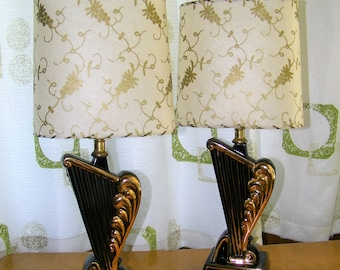 MID CENTURY Retro Atomic Modern 1950s Boudoir Vanity Table Lamps Light Original Kitschy 50s Fiberglass Shade Lamp Mad Men Kitsch 1960s 60s