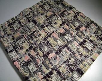 Vintage 50s 60s Mid Century Modern Atomic Pink Black Fabric Material Curtain Curtains 1950s 1960s Drapes Drapery Retro Barkcloth Bark Cloth