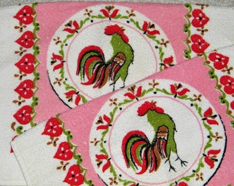 Vintage 50s 60s Pennys Mid Century Atomic Modern Bird Rooster Cotton Dish Tea Towels 1950s 1960s Terry Cloth 1950s 1960s Textile USA Pink