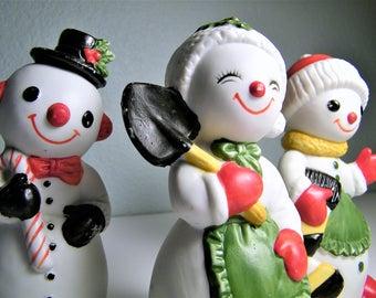 Vintage 1960s 1970s Ceramic Christmas Snowman Figurines 60s 70s Mid Century Atomic Modern Decoration Figurine Decor Anthropomorphic Lefton