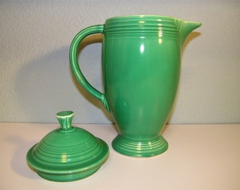 Vintage 40s 50s Retro Homer Laughlin Fiesta Art Deco Light Green Coffee Pot Teapot Kitchen Decor Decoration Geometric 1940s 1950s Coffeepot