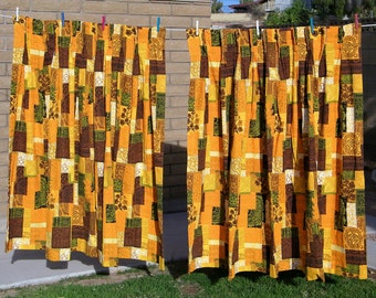 Vintage 60s Tiki Pinch Pleat Curtain Curtains 1960s 1970s Drapes Drapery Material Fabric Mid Century Modern Barkcloth Bark Cloth Room Bar