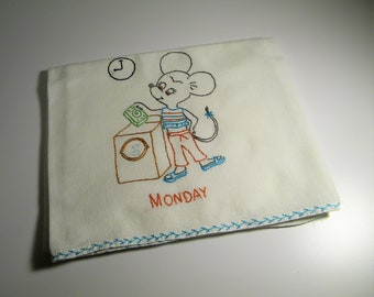 Vintage 50s 60s Hand Embroidered Cotton Minnie Mouse Mickey Kitchen Flour Sack Dish 1950s Tea Towel DOTW Days of The Week Towels Disney