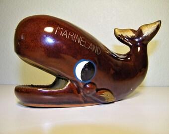 VINTAGE Mid Century 50s 60s Japan Marineland Whale Redware Bank Figurine Red Ware Mid Mod Decor Figurine 1950s 1960s Mermaid Orky Corky