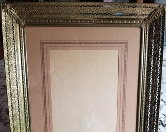 Vintage Metal Filigreed 8 x 10 Brass Picture Frame with Matte / Hollywood Regency / Wedding Engagement or Baby