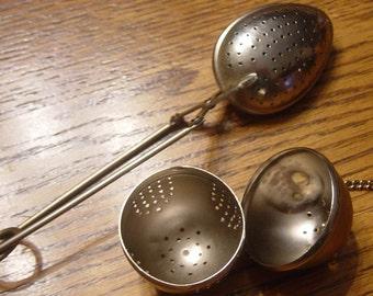 Vintage Metal Ball Tea Infuser and Spoon Tea Strainer / Hong Kong Tea Strainer