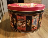 Vintage Quaker Oats Tin Collectible Advertising Tin 1983 Limited Edition Oatmeal Cookie Recipe Graphic Farmhouse Decor