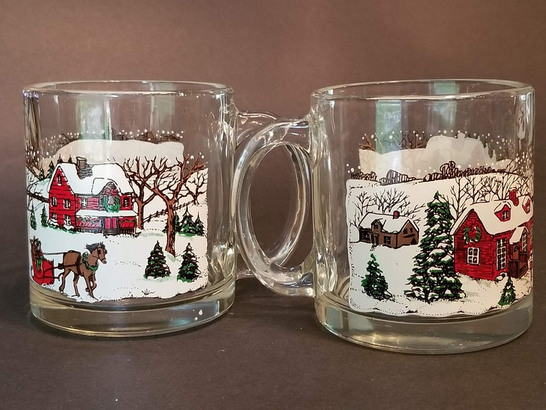 Winterland For In CandyCocoa With The Teachers Gift Glass Mugs Set Of 2 Vintage Usa Great Fill Clear Christmas Made Idea PZiOkTXu