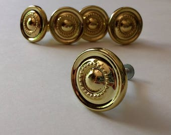Salvaged Vintage Drawer Pulls or Drawer Knobs Sold Separately / Shiny Brass or Brass Plated / Vintage Hardware