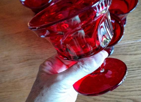 Jamestown Vintage Fostoria rouge rubis sur pied verres à sorbet Champagne ou haut / 5 disponible et vendu séparément