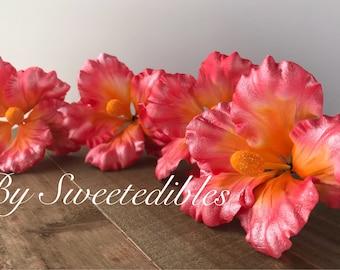 Gum Paste Hawaiian Hibiscus Flower Cake Decorations Pink Gumpaste
