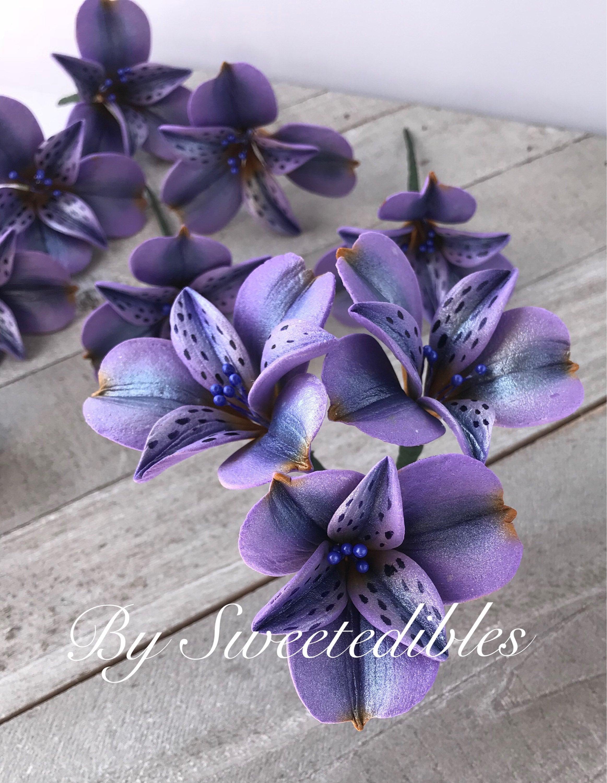 Gumpaste Alstroemeria Flower Cake Decoration Lavender Gum Etsy