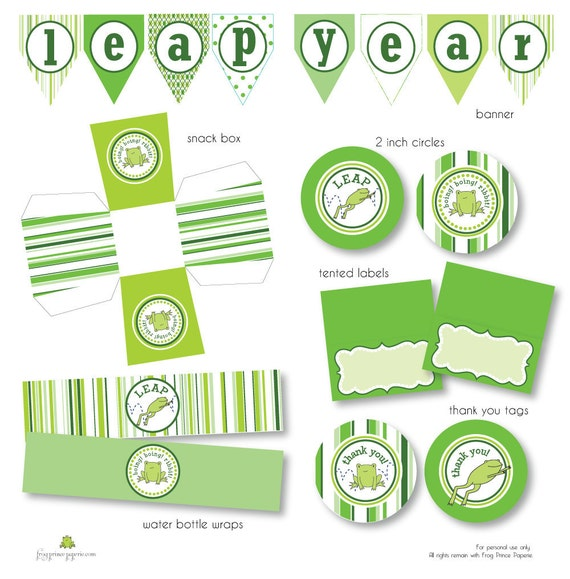 Items Similar To Leap Year Frog Printable Party On Etsy