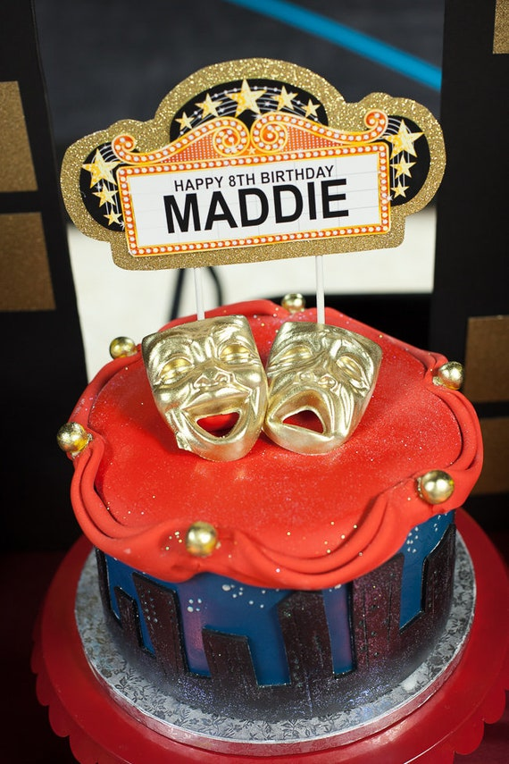 Broadway Birthday Cake Topper Marquee CUSTOMIZED