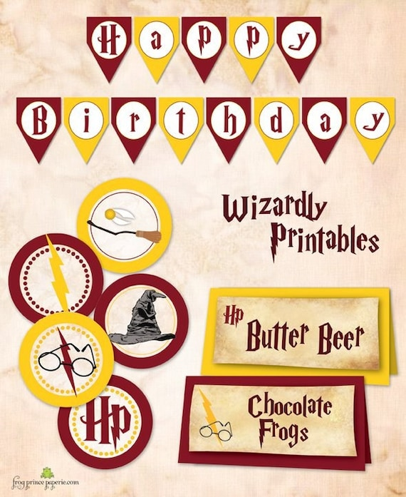 Wizard Birthday Printable Banner And 2 Inch Circles