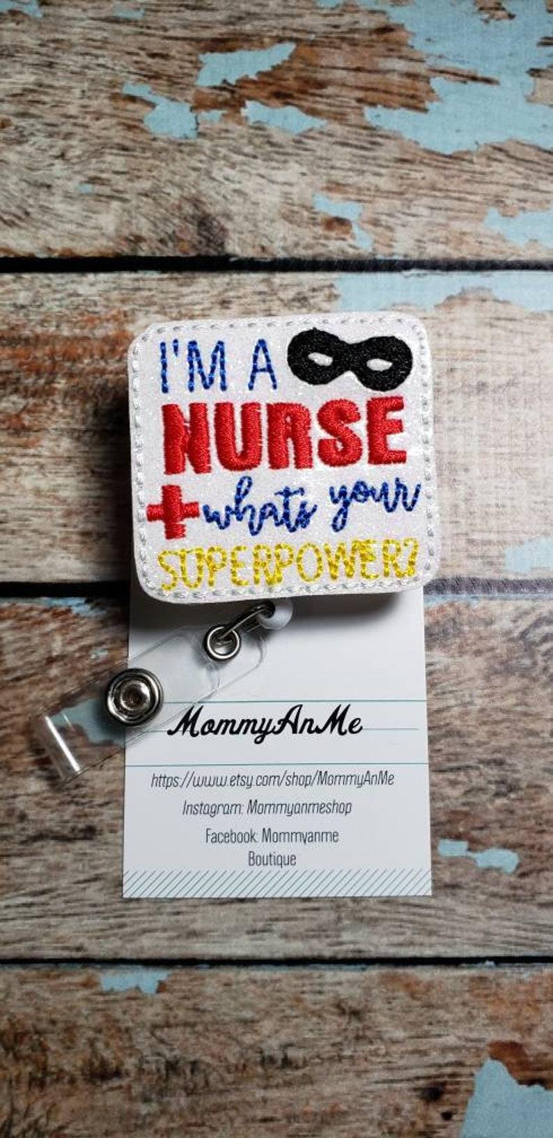 I/'m A Nurse Badge Reel Superpower Badge Reel Retractable ID Badge Holder Retractable Badge Pull Nurse Badge Reel