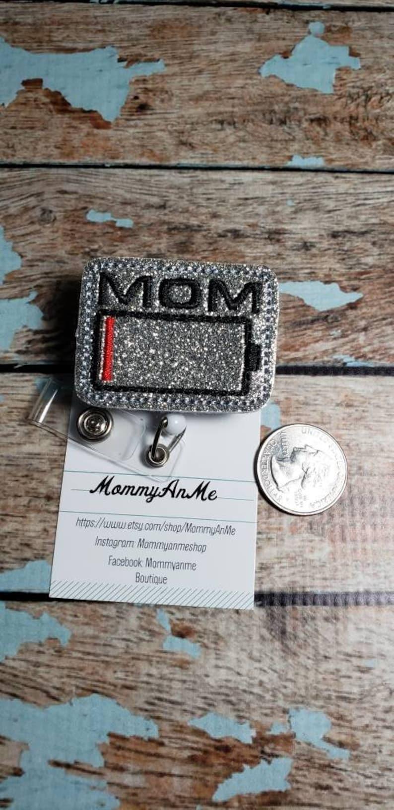 Retractable Badge Pull Retractable ID Badge Holder Glitter Vinyl Badge Reel Mom Badge Reel Battery Badge Reel