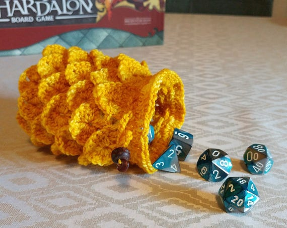 Dragon scale dice bag / treasure pouch / stash bag in deep yellow