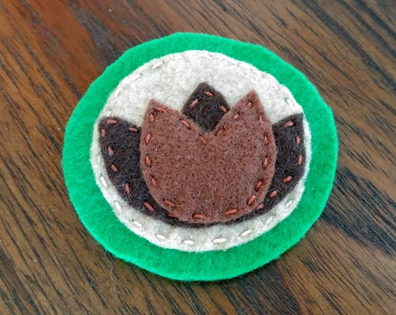 Lotus flower felt patch // hand-embroidered
