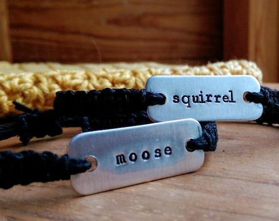 supernatural moose & squirrel stamped bracelets // set of two adjustable hemp bracelets