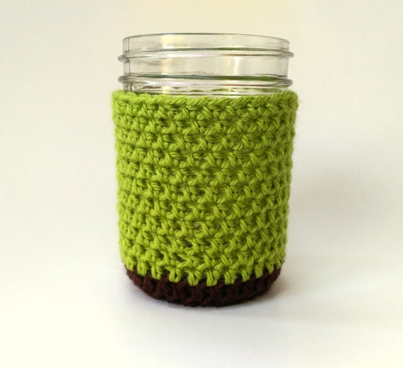 crocheted mason jar coaster cozy in brown and chartreuse