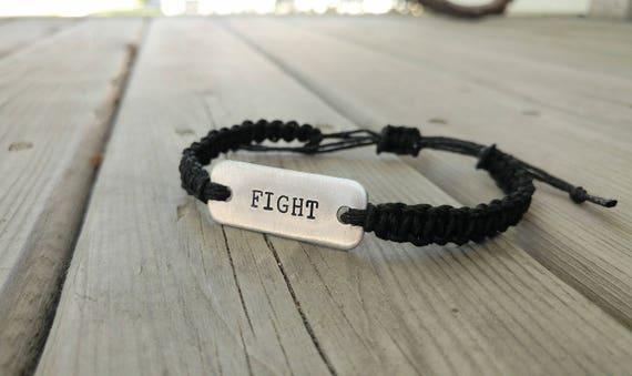FIGHT hand-stamped adjustable hemp bracelet