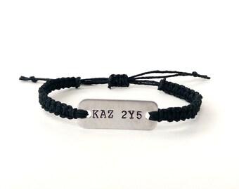 supernatural license plate KAZ 2Y5 stamped bracelet // adjustable hemp bracelet