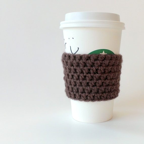 Crocheted coffee sleeve/cuff/cozy in chocolate brown