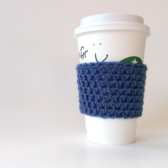 Crocheted coffee sleeve/cuff/cozy in teal blue