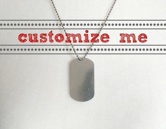 Custom dog tag necklace // aluminum dog tag with metal ball chain