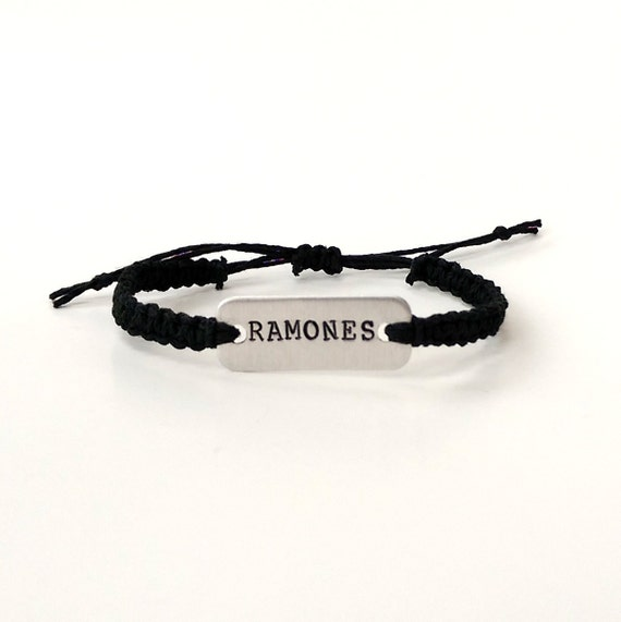 Ramones stamped bracelet // adjustable hemp bracelet