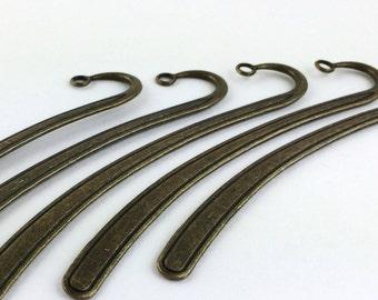 5pcs Antique Bronze Bookmark - Wholesale Book Mark Finding - Large Flat Long Bookmark Supply -Wholesale Bulk Lot DIY Metal Hook Bookmark