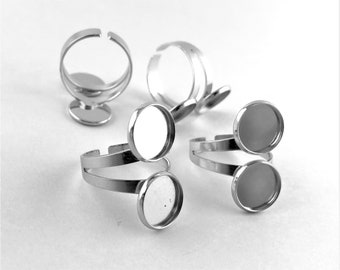 tray ring bezel blanks adjustable 12mm ring setting ring supplies 12mm silver ring base 40PCS CLEARANCE ring bezel cup ring base bezel