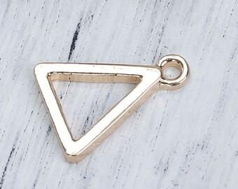 Triangle geometric silver 3 charms jewellery supplies C293