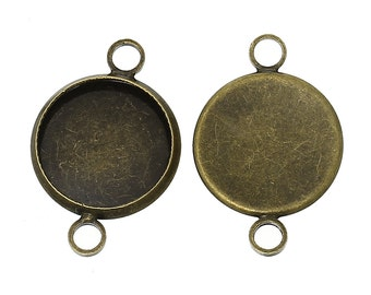 30pcs 12mm-16mm-14mm-18mm-20mm-25mm Antique Bronze  Base connector with two holes Round Cameo Cabochon Base Setting Pendants