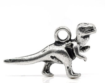 4pcs / 50pcs Wholesale Silver Dinosaur Charms - Tyrannosaurus Charm 3D Dinosaur Pendants T-Rex Charms Dinosaur Beads