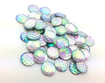100pcs Rainbow Mermaid Supplies - DIY Mermaid Costume - Scale Cabochons - 12mm Wholesale Cabochons - Flat Back Glue On Round