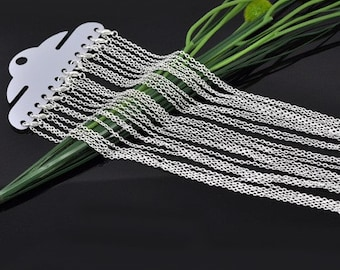 12pcs 30 inch Silver Necklace Chains - Silver Plated Chain Necklace - 3mm x 2mm Lobster Clasp Jewelry Findings - Bulk Lot Findings Chain