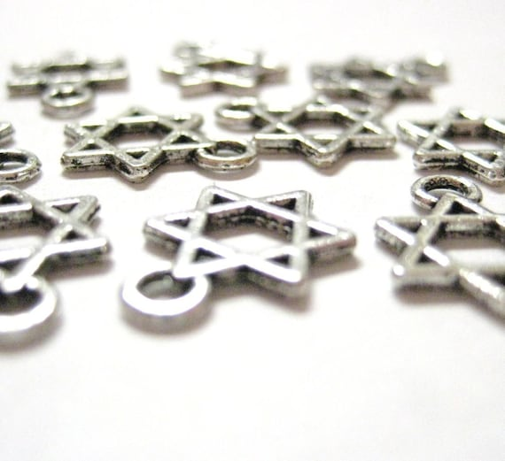 100pcs Silver Wholesale Star of David Charms - Magen Shield Hanukkah Charms - Hanukkah Beads - Jewish Religious Symbol
