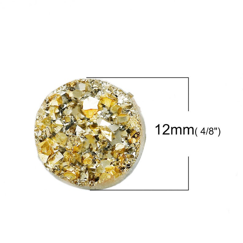 4pcs  50pcs Gold Druzy Cabochon Wholesale Cabochon 12mm Resin Gemstone Round Druzy Drusy Faux Geode Druzy Flat Back Cabs DIY Supply