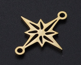 5pcs Gold Star Connector - Gold Connectors - Double Loop - Star Links - Connector Links - Connector Charm - Jewelry Findings